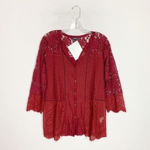 Lucky Brand | maroon lace 3/4 sleeve blouse M